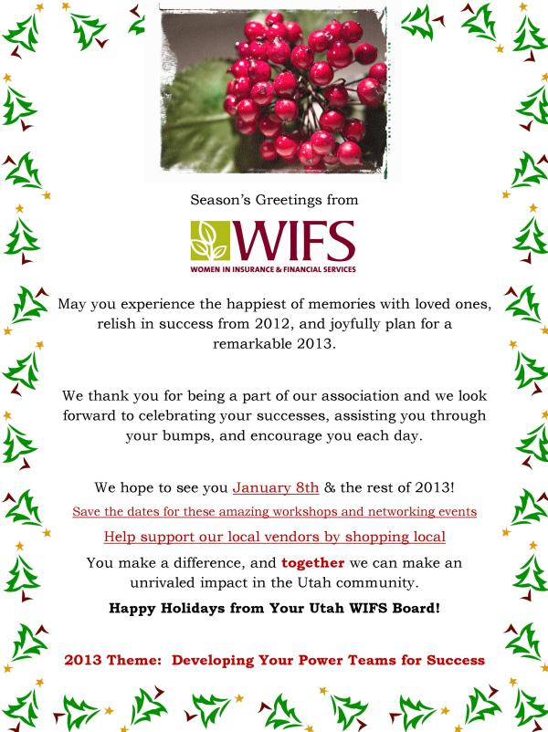 Happy Holidays from Your Utah WIFS Board!